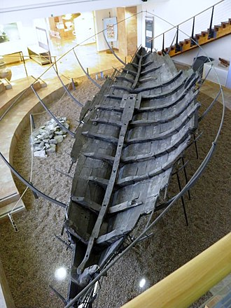Ma'agan Michael Ship - Ma'agan Michael boat on display at the Hecht Museum in Haifa