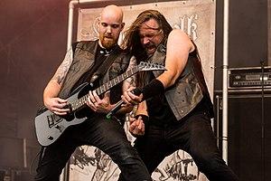 Heidevolk - Kevin Vruchtbaard and Jacco de Wijs at the 2017 Metal Frenzy Festival