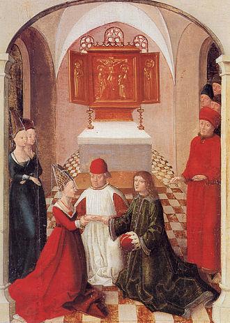 Judith of Flanders (died 1095) - Weingartener Heilig-Blut-Tafel, 1489; Landesmuseum Württemberg, Stuttgart. 21: Judith of Flanders marries Welf IV of Altdorf