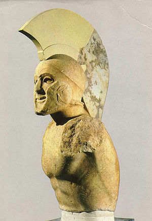 "Dorians - Fifth century BC hoplite, or ""heavy-armed soldier"", possibly the Spartan king Leonidas, a Dorian, who died holding the pass at the Battle of Thermopylae."