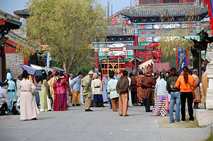 Tourists and extras in Hengdian World