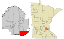 Hennepin County Minnesota Incorporated and Unincorporated areas Bloomington Highlighted.svg