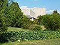 Herman B Wells Library and lotus pond - P1100156.JPG