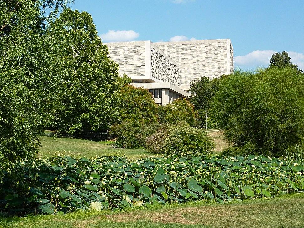Herman B Wells Library and lotus pond - P1100156