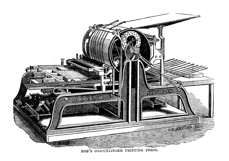 File:Hoe's one cylinder printing press.png
