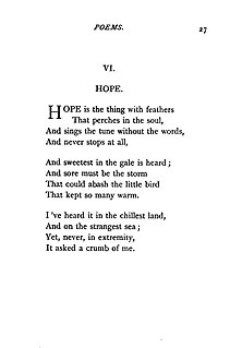 """""""Hope"""" is the thing with feathers Lyric poem by Emily Dickinson"""