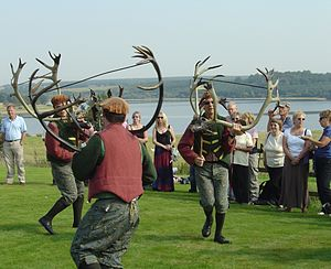 Abbots Bromley Horn Dance - The dance, above Blithfield Reservoir in 2006
