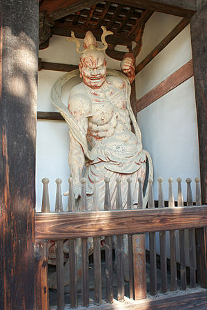 Japanese sculpture - Guardian Deity (Kongōrikishi) in Horyuji, clay and wood, 711
