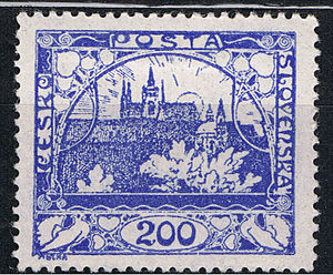 Postage stamps and postal history of Czechoslovakia - A stamp, from the first Hradčany Castle set, in use in Czechoslovakia after 1918.