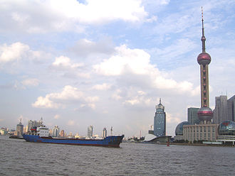 Pudong - Ships on the Huangpu River with Pudong in view