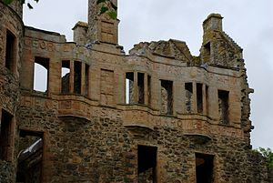 Huntly Castle - Carved inscriptions feature on the facade
