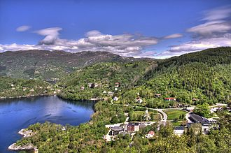 Hyllestad - View of the village of Hyllestad