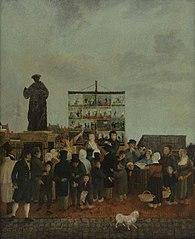 Rollenzanger Lange Jan bij het standbeeld van Erasmus op de Grotemarkt