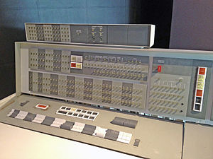 "IBM 7090 - IBM 7094 operator's console showing additional index register displays in a distinctive extra box on top. Note ""Multiple Tag Mode"" light in the top center."