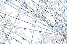 Aviation instrument-flying chart showing numerous lines representing airways and intersections, including the location of where the collision occurred, northwest of Brasília.