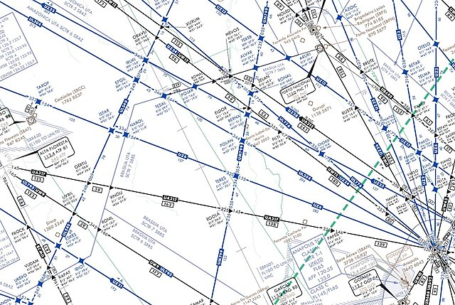 Aviation Charts: IFR high altitude en route chart section - Teres - UZ6 airway ,Chart