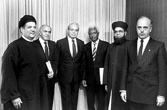 Afro-Asian People's Solidarity Organisation - Dr. Murad Ghaleb, then Secretary-General of the Afro-Asian People's Solidarity Organisation (second from left) at the Headquarters of the United Nations (New York, 16 June 1988).