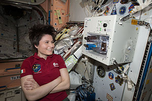 European contribution to the International Space Station - ESA Italian astronaut Samantha Cristoforetti next to the ISSpresso experimental beverage maker