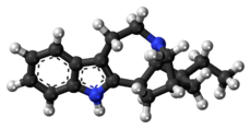 Ball-and-stick model of the ibogamine molecule