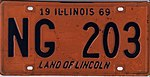 Illinois 1969 license plate - Number NG 203.jpg