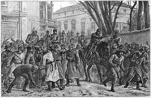 Nicolae Fleva - Riots in Bucharest: Dispersing the rioters in the street. The Illustrated London News, April 14, 1888