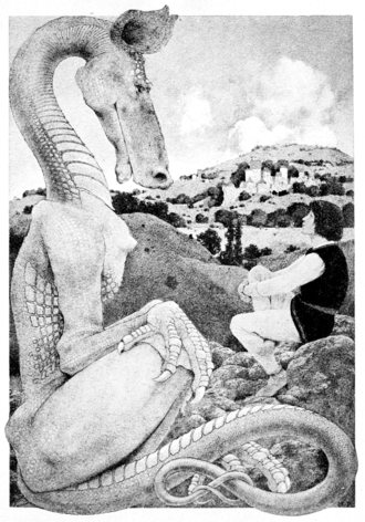 The Reluctant Dragon (short story) - Illustration from Dream Days (1902) by Maxfield Parrish