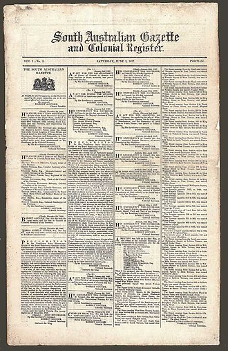 South Australian Register - Front Page of Vol 1, No 2 (3 June 1837) of the South Australian Gazette and Colonial Register.