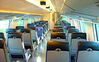 Train - Interior of a passenger car in a long-distance train in Finland