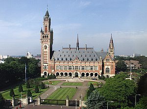 Architectural design competition - Competition for the design of the Peace Palace in The Hague, 1905 Entries (from left to right) by Otto Wagner, Franz Heinrich Schwechten, Hendrik Petrus Berlage and built design by Louis M. Cordonnier
