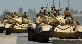 Gulf War - Iraqi Army T-72M main battle tanks. The T-72M tank was a common Iraqi battle tank used in the Gulf War.