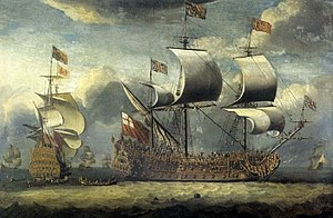 Charles Wager - Britannia under sail with other men-of-war, in a 1683 painting by Isaac Sailmaker