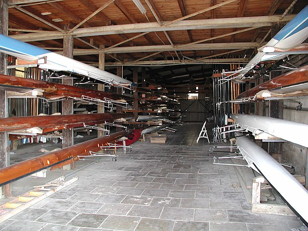 Racing shells stored in a boathouse. Israeli boathouse.jpg