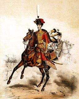 Hussar light cavalry originally from Hungary