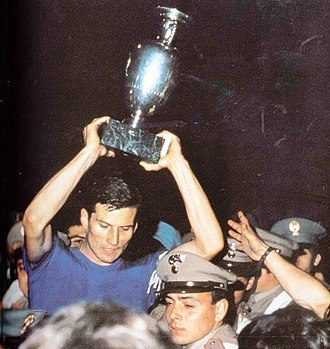 Italy national football team - Captain Giacinto Facchetti celebrates Italy's UEFA Euro 1968 victory.