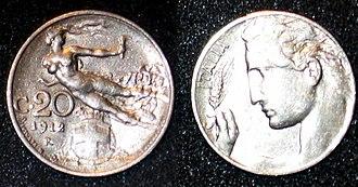 Centesimo - 20 centesimi of Italian lira, 1912