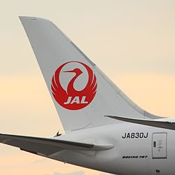 JAL Dreamliner tail (15062685180).jpg