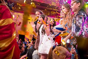 Georgia in the Junior Eurovision Song Contest 2016 - Mariam Mamadashvili after being announced as the winner of the contest.