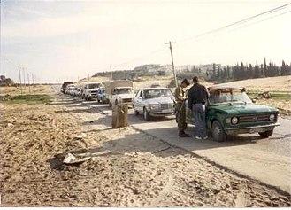 First Intifada - IDF roadblock outside Jabalya, 1988