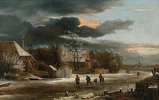 Winter Landscape with a Village and Frozen Canal