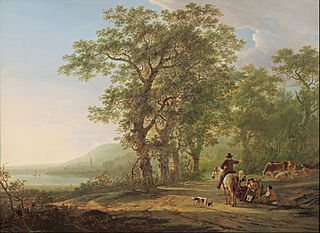 Figures in a forest landscape