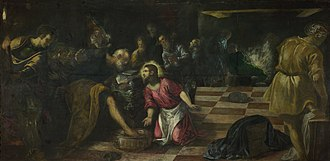 Christ Washing the Disciples' Feet (Tintoretto) - Image: Jacopo Tintoretto Christ washing the Feet of the Disciples Google Art Project
