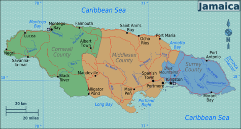 Jamaica Travel Guide At Wikivoyage - Jamaica political map 1968