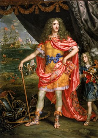 Flagmen of Lowestoft - James, Duke of York, in a 1672–1673 portrait by Sir Peter Lely (though not one of the series). James commissioned the series 'to hang in his chamber' (Pepys).