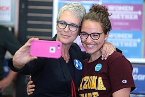 Jamie Lee Curtis - Jamie Lee Curtis speaking at an event in support of Democratic nominee Hillary Clinton in Tempe, Arizona in September 2016.