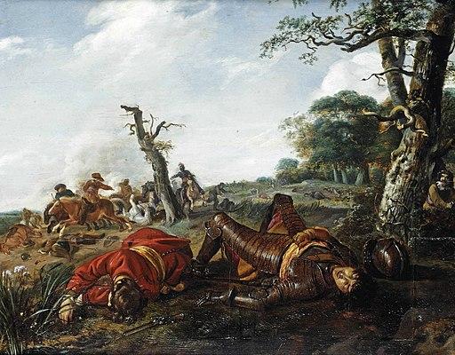 Jan Martszen de Jonge - A cavalry skirmish with two fallen soldiers