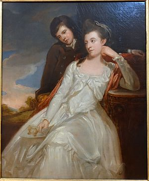 Jane Gordon, Duchess of Gordon - Jane, Duchess of Gordon, with her son George Gordon, Marquess of Huntly, the future 5th Duke of Gordon. The disastrous consequences of the accident in Edinburgh some years ago are hidden by a document which Jane holds in her right hand. George Romney portrayed the Duchess and her son in 1778.