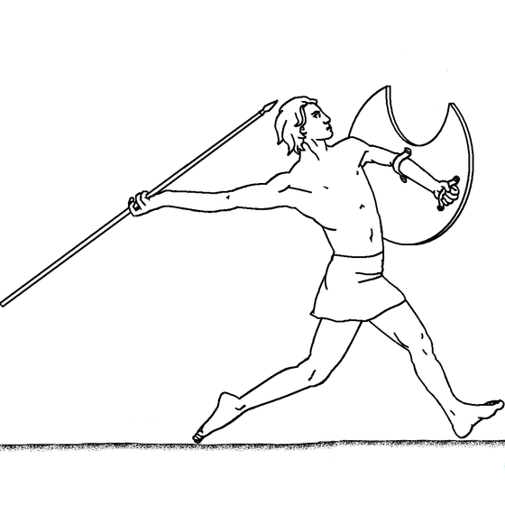 Man with a shield throwing a javelin Javeleer.png