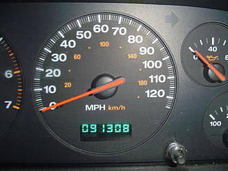 Odometer - An electronic odometer (below) with digital display
