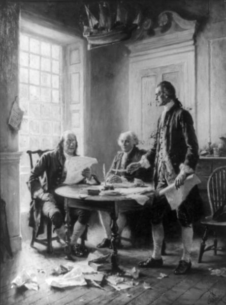 Adams and Jefferson, with Benjamin Franklin, drafting the Declaration of Independence.