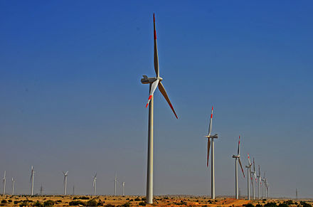 Pakistan produced 1,135 megawatts of renewable energy for the month of October 2016. Pakistan expects to produce 3,000 megawatts of renewable energy by the beginning of 2019. Jhimpir Wind Farm 2012.jpg